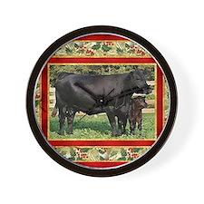 Black Angus Cow  Calf Christmas Card Wall Clock
