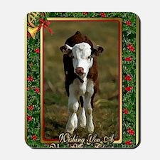 Hereford Calf Christmas Card Mousepad
