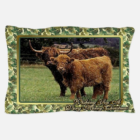 Highland Cow And Calf Christmas Card Pillow Case
