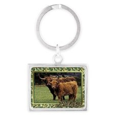 Highland Cow And Calf Christmas Landscape Keychain
