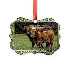 Highland Cow And Calf Christmas C Ornament