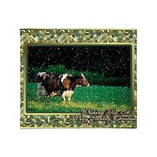 Holstein Cow Christmas Card Throw Blanket