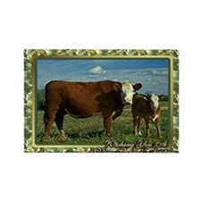 Hereford Cow And Calf Christmas C Rectangle Magnet
