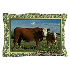 Hereford Cow And Calf Christmas Card Pillow Case