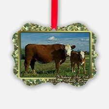 Hereford Cow And Calf Christmas C Ornament