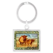 Red Angus Cow And Calf Christma Landscape Keychain