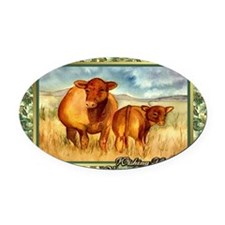 Red Angus Cow And Calf Christmas C Oval Car Magnet