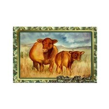 Red Angus Cow And Calf Christmas  Rectangle Magnet