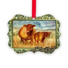 Red Angus Cow And Calf Christmas  Ornament