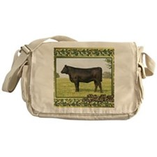 Black Angus Heifer Christmas Card Messenger Bag