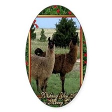 Llama Christmas Card Decal