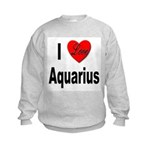 I Love Aquarius (Front) Kids Sweatshirt