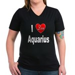 I Love Aquarius (Front) Women's V-Neck Dark T-Shir