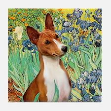 Basenji in Irises Tile Coaster