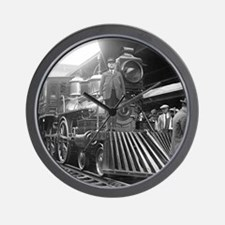 Steam Train at Station Wall Clock
