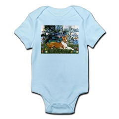 Lilies (1) with a Basenj Infant Bodysuit