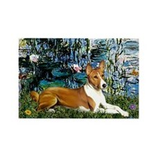 Lilies (1) with a Basenj Rectangle Magnet (10 pack