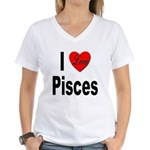 I Love Pisces (Front) Women's V-Neck T-Shirt
