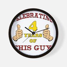 Funny 4th Birthday For Boys Wall Clock
