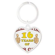 Funny 16th Birthday For Boys Heart Keychain