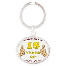Funny 18th Birthday For Boys Oval Keychain