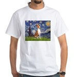 Starry Night & Basenji White T-Shirt