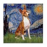Starry Night & Basenji Tile Coaster