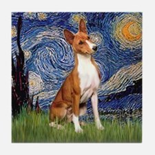 Starry Night & Basenji Tile Coaster