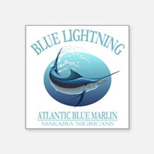 "Blue Lightning Square Sticker 3"" x 3"""