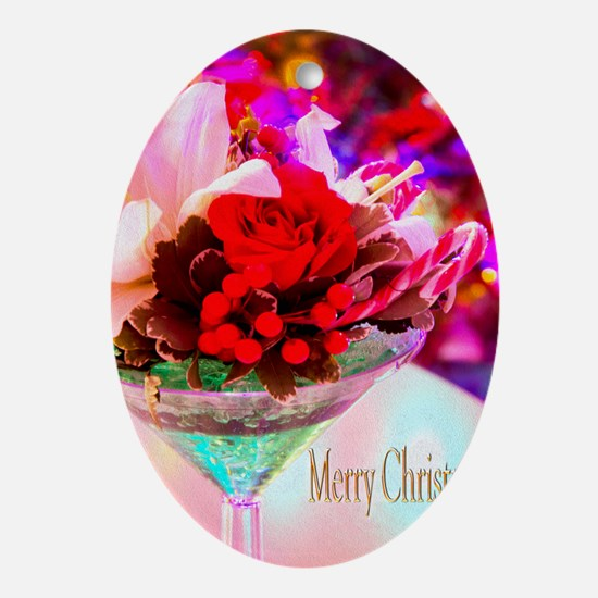 Merry Christmas With Rose And Daylil Oval Ornament