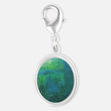 Abstract Blue Green Modern Land Silver Oval Charm
