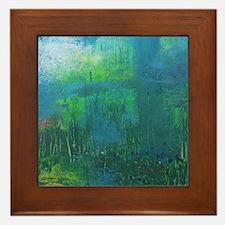 Abstract Blue Green Modern Landscape Framed Tile
