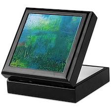 Abstract Blue Green Modern Landscape Keepsake Box