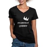 Belarus Womens V-Neck T-shirts (Dark)