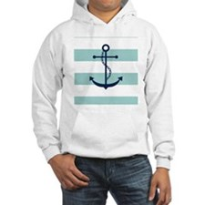 Blue Anchor on Mint Stripes Hoodie