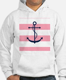 Blue Anchor on Pink Stripes Hoodie