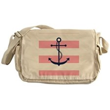 Blue Anchor on Pink Stripes Messenger Bag