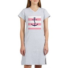 Blue Anchor on Pink Stripes Women's Nightshirt