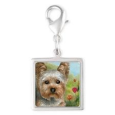 Dog 117 Silver Square Charm