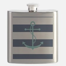Teal Anchor on Navy Blue Stripes Flask