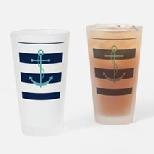 Teal Anchor on Navy Blue Stripes Drinking Glass