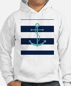 Teal Anchor on Navy Blue Stripes Hoodie