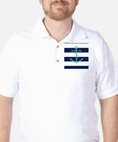 Teal Anchor on Navy Blue Stripes T-Shirt