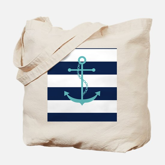 Teal Anchor on Navy Blue Stripes Tote Bag