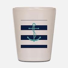Teal Anchor on Navy Blue Stripes Shot Glass