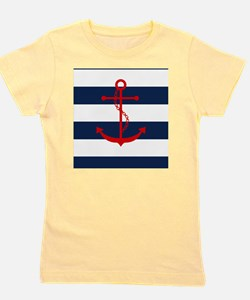Red Anchor on Blue Stripes Girl's Tee