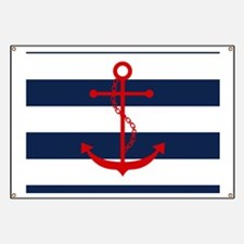 Red Anchor on Blue Stripes Banner