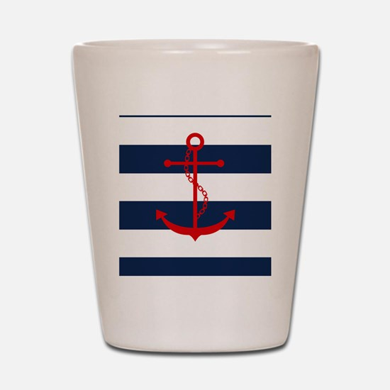 Red Anchor on Blue Stripes Shot Glass