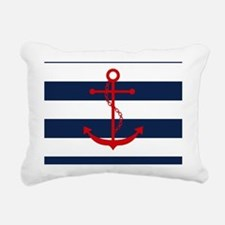 Red Anchor on Blue Strip Rectangular Canvas Pillow