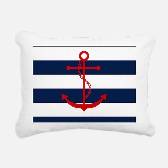 Red Anchor on Blue Strip Rectangular Canvas Pillow